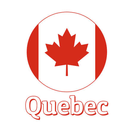 Round button Icon of national flag of Canada with red maple leaf on the white background and lettering of city name Quebec. Illustration
