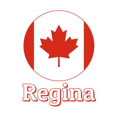 Round button Icon of national flag of Canada with red maple leaf on the white background and lettering of city name Regina. Illustration
