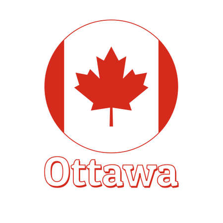 Round button Icon of national flag of Canada with red maple leaf on the white background and lettering of city name Ottawa. Illustration