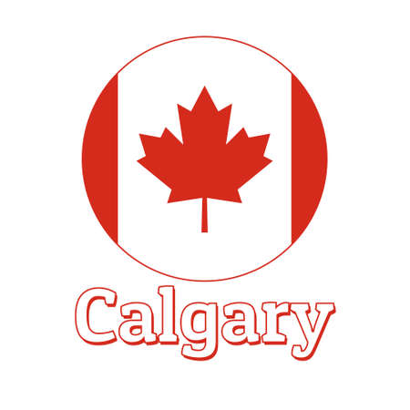 Round button Icon of national flag of Canada with red maple leaf on the white background and lettering of city name Calgary. Illustration