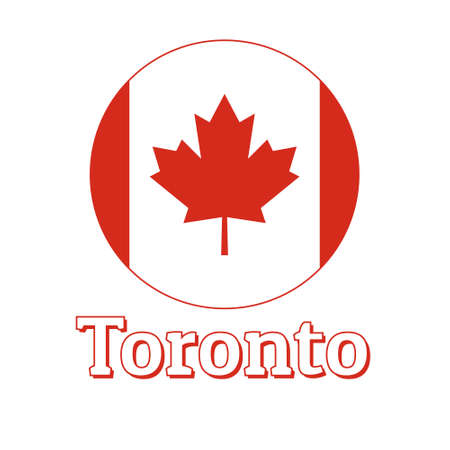 Round button Icon of national flag of Canada with red maple leaf on the white background and lettering of city name Toronto.