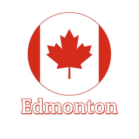 Round button Icon of national flag of Canada with red maple leaf on the white background and lettering of city name Edmonton.