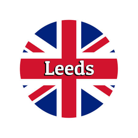Round button Icon of national flag of United Kingdom of Great Britain. Union Jack on the white background with lettering of city name Leeds.