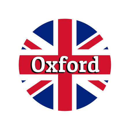 Round button Icon of national flag of United Kingdom of Great Britain. Union Jack on the white background with lettering of city name Oxford. Illustration