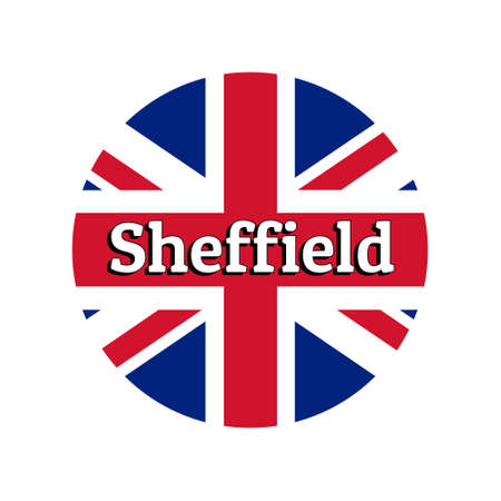 Round button Icon of national flag of United Kingdom of Great Britain. Union Jack on the white background with lettering of city name Sheffield. Illustration
