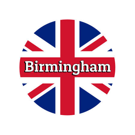 Round button Icon of national flag of United Kingdom of Great Britain. Union Jack on the white background with lettering of city name Birmingham. Illustration