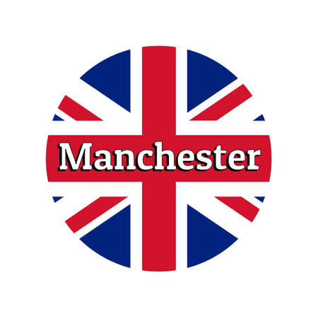 Round button Icon of national flag of United Kingdom of Great Britain. Union Jack on the white background with lettering of city name Manchester.
