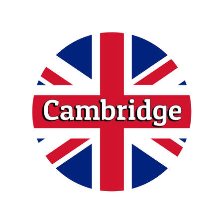 Round button Icon of national flag of United Kingdom of Great Britain. Union Jack on the white background with lettering of city name Cambridge.