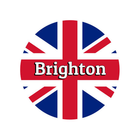 Round button Icon of national flag of United Kingdom of Great Britain. Union Jack on the white background with lettering of city name Brighton.