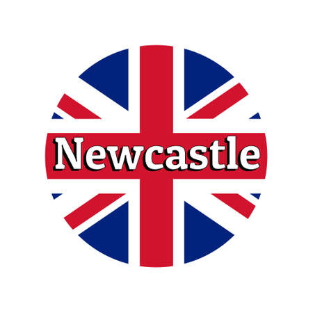 Round button Icon of national flag of United Kingdom of Great Britain. Union Jack on the white background with lettering of city name Newcastle. Illustration