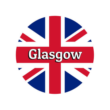 Round button Icon of national flag of United Kingdom of Great Britain. Union Jack on the white background with lettering of city name Glasgow. Illustration