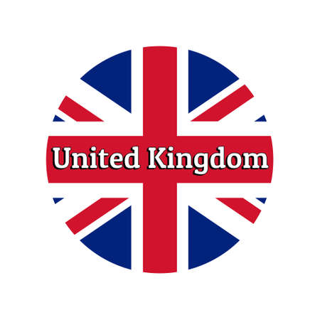 Round button Icon of national flag of United Kingdom of Great Britain.