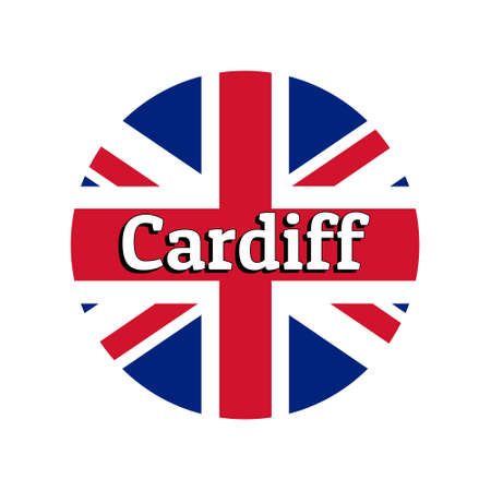 Round button Icon of national flag of United Kingdom of Great Britain. Union Jack on the white background with lettering of city name Cardiff.