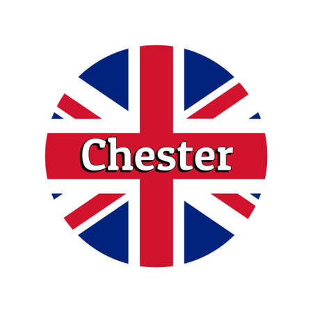 Round button Icon of national flag of United Kingdom of Great Britain. Union Jack on the white background with lettering of city name Chester.
