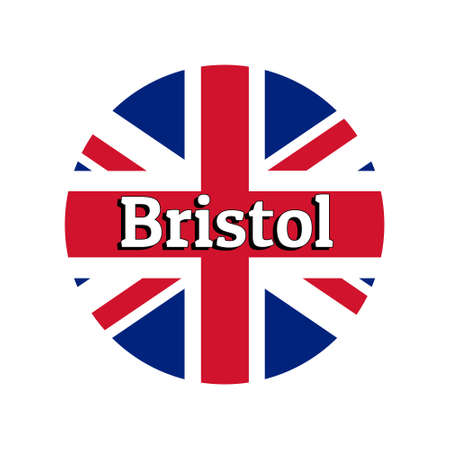 Round button Icon of national flag of United Kingdom of Great Britain. Union Jack on the white background with lettering of city name Bristol.