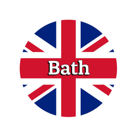 Round button Icon of national flag of United Kingdom of Great Britain. Union Jack on the white background with lettering of city name Bath.