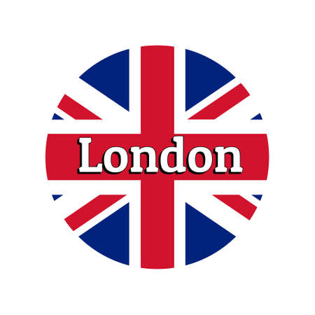 Round button Icon of national flag of United Kingdom of Great Britain. Union Jack on the white background with lettering of city name London. Stock Vector - 127091439