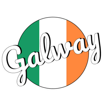 Round button Icon of national flag of Ireland with green, white and orange colors and inscription of city name Galway. Stock Vector - 127091445