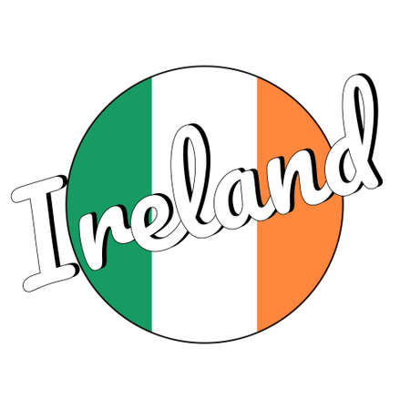 Round button Icon of national flag of Ireland with green, white and orange colors and inscription. Illustration