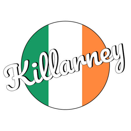 Round button Icon of national flag of Ireland with green, white and orange colors and inscription of city name Killarney.