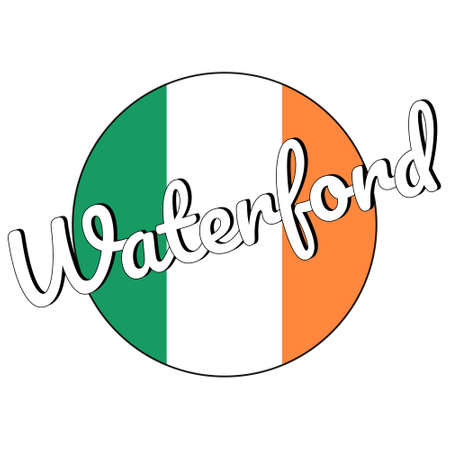 Round button Icon of national flag of Ireland with green, white and orange colors and inscription of city name Waterford.
