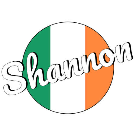 Round button Icon of national flag of Ireland with green, white and orange colors and inscription of city name Shannon.