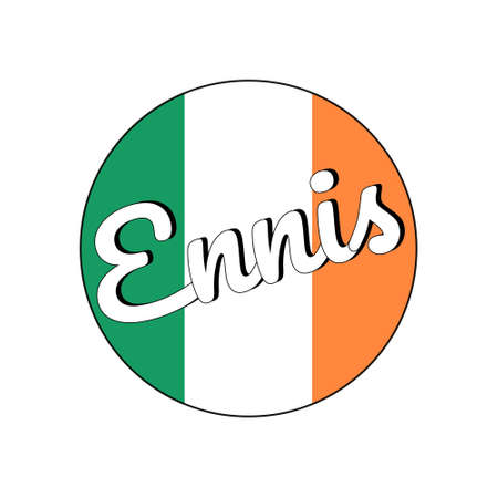 Round button Icon of national flag of Ireland with green, white and orange colors and inscription of city name Ennis.