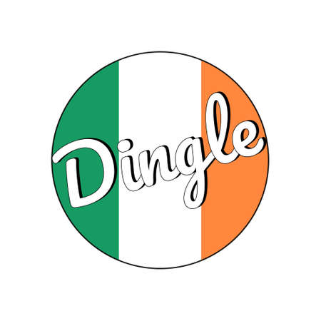 Round button Icon of national flag of Ireland with green, white and orange colors and inscription of city name Dingle.