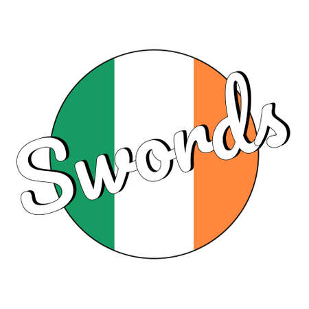Round button Icon of national flag of Ireland with green, white and orange colors and inscription of city name Swords. Stock Vector - 127091453