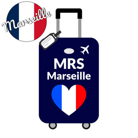 Luggage with airport station code IATA or location identifier and destination city name Marseille, MRS. Travel to France, Europe concept. Heart shaped flag of the France on baggage Stock Vector - 126833600