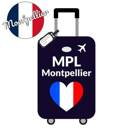 Luggage with airport station code IATA or location identifier and destination city name Montpellier, MPL. Travel to France, Europe concept. Heart shaped flag of the France on baggage