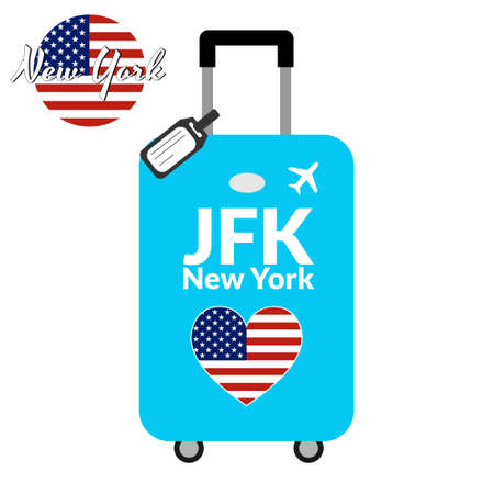 Luggage with airport station code IATA or location identifier and destination city name New York, JFK. Travel to the United States of America concept. Heart shaped flag of the USA on the baggage Illustration