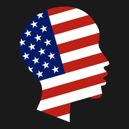 National flag of United States of America in form of African-American boy head silhouette. Freedom, patriotism and equality concept. Vector EPS10 illustration Stock Vector - 127544144