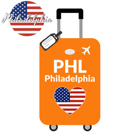 Luggage with airport station code IATA or location identifier and destination city name Philadelphia, PHL. Travel to the United States of America concept. Heart shaped flag of the USA on baggage. Stock Illustratie