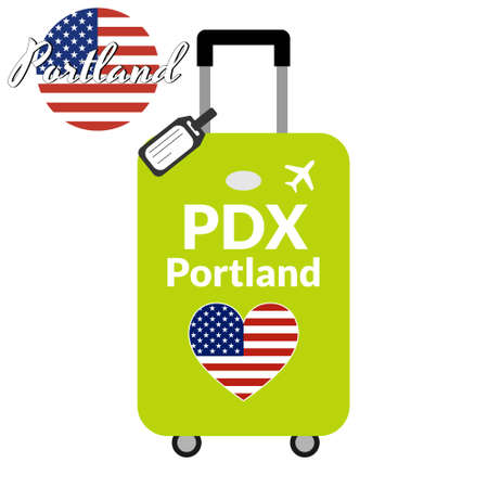 Luggage with airport station code IATA or location identifier and destination city name Portland, PDX. Travel to the United States of America concept. Heart shaped flag of the USA on baggage.