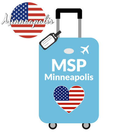 Luggage with airport station code IATA or location identifier and destination city name Minneapolis, MSP. Travel to the United States of America concept. Heart shaped flag of the USA on the baggage.