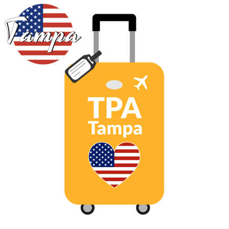 Luggage with airport station code IATA or location identifier and destination city name Tampa, TPA. Travel to the United States of America concept. Heart shaped flag of the USA on baggage.