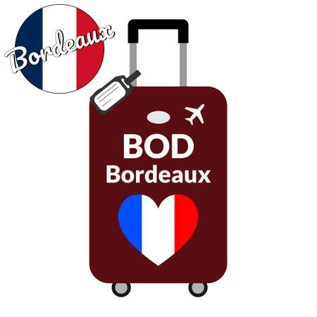 Luggage with airport station code IATA or location identifier and destination city name Bordeaux, BOD. Travel to France, Europe concept. Heart shaped flag of the France on baggage. Illustration