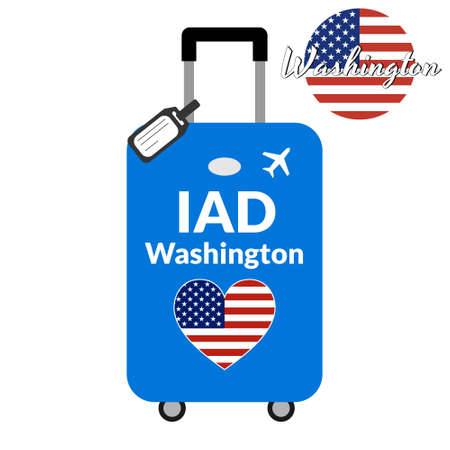 Luggage with airport station code IATA or location identifier and destination city name Washington, IAD. Travel to the United States of America concept. Heart shaped flag of the USA on baggage Stock Vector - 127993540