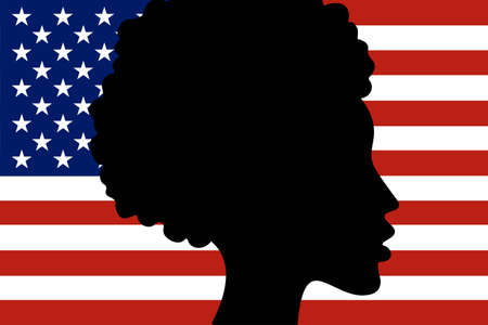 Silhouette of African-American girl head with National flag of United States of America on the background. Freedom, patriotism and equality concept. Vector EPS10 illustration Illustration