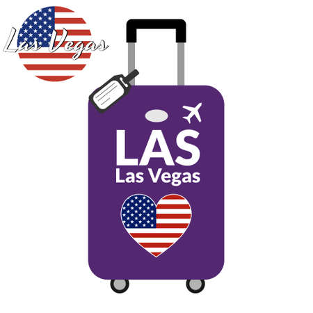 Luggage with airport station code IATA or location identifier and destination city name Las Vegas, LAS. Travel to the United States of America concept. Heart shaped flag of the USA on the baggage Stock Vector - 128260533