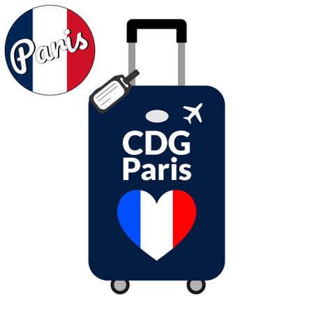 Luggage with airport station code IATA or location identifier and destination city name Paris, CDG. Travel to France, Europe concept. Heart shaped flag of the France on baggage. Illustration