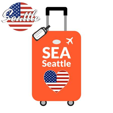 Luggage with airport station code IATA or location identifier and destination city name Seattle, SEA. Travel to the United States of America concept. Heart shaped flag of the USA on the baggage