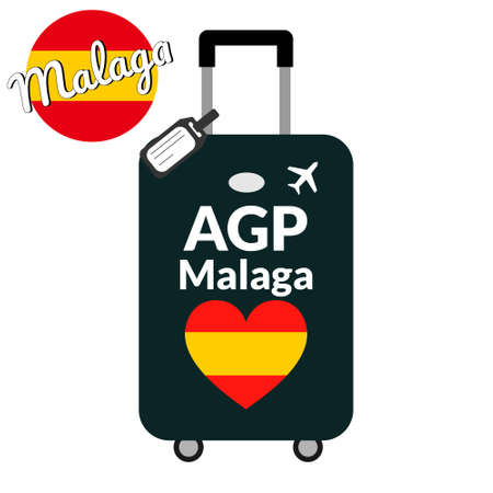 Luggage with airport station code IATA or location identifier and destination city name Malaga, AGP. Travel to Spain, Europe concept. Heart shaped flag of the Spain on baggage