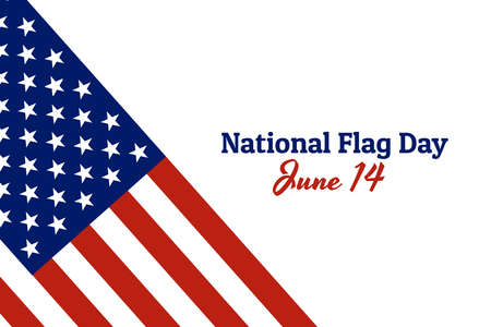 National flag of The United States of America with red stripes and white stars and inscription: National Flag Day, June 14 in modern style with patriotic colors. Vector EPS10 illustration. Foto de archivo - 130512228