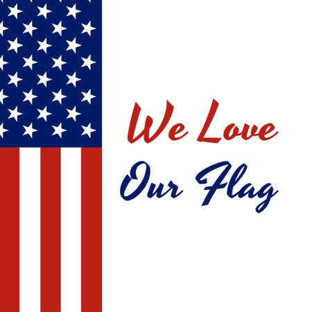 National flag of The United States of America with red stripes and white stars and inscription: National Flag Day, June 14, We Love Our Flag in modern style with patriotic colors. Foto de archivo - 130512229