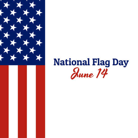 National flag of The United States of America with red stripes and white stars and inscription: National Flag Day, June 14 in modern style with patriotic colors. Vector EPS10 illustration. Foto de archivo - 130512230