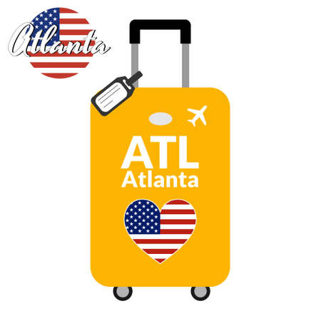 Luggage with airport station code IATA or location identifier and destination city name Atlanta, ATL. Travel to the United States of America concept. Heart shaped flag of the USA on the baggage.