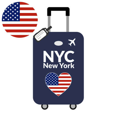 Luggage with airport station code IATA or location identifier and destination city name New York, NYC. Travel to the United States of America concept. Heart shaped flag of the USA on the baggage.