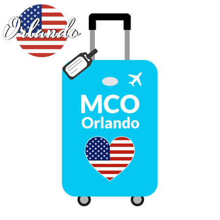 Luggage with airport station code IATA or location identifier and destination city name Orlando, MCO. Travel to the United States of America concept. Heart shaped flag of the USA on the baggage. Stock Illustratie